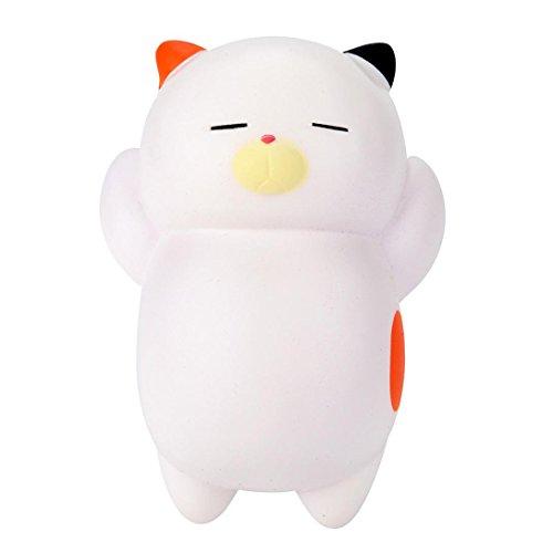Squishy Spielzeug, Hmeng Squishies 12 cm Nette Faul Schlafende Katze Duftenden Charme Langsam Rising Squeeze Spielzeug Charme (12*8.5*4cm, Weiß)