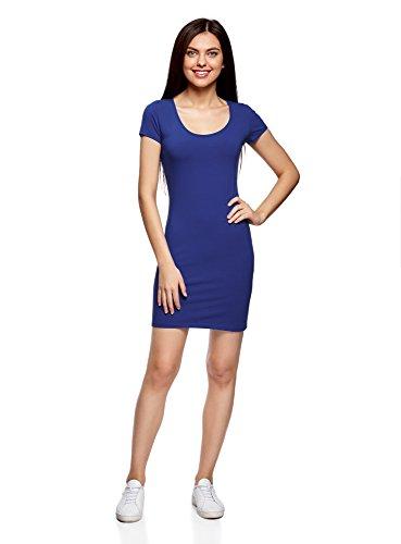 oodji Ultra Damen Enges Jersey-Kleid Blau (7500N)