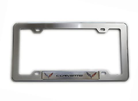 Highly Polished CHROME Plated Silver LICENSE FRAME with SILVER CORVETTE DOUBLE WINGS Aluminum Emblem Badge Nameplate Logo Decal Rare for Chevrolet Chevy Corvette General Motors GM C1 C2 C3 C4 C5 C6 C7 ZR1 ZL1 Z06 FRC LT1 LS3 6.2L Liter LS6 5.7L Z06 LS1 L83 350HP 425HP 427HP 430HP 454HP V8 Coupe Convertible Stingray Dress Crate