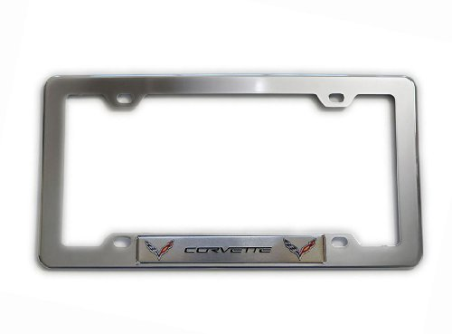 highly-polished-chrome-plated-silver-license-frame-with-silver-corvette-double-wings-aluminum-emblem