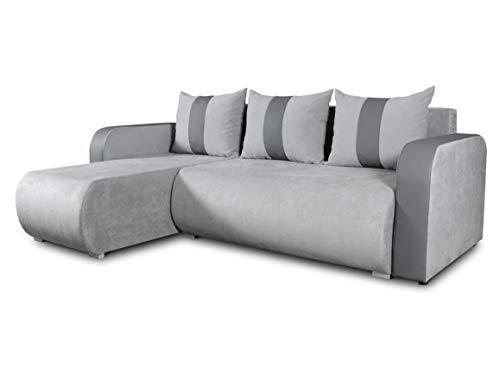 Ecksofa Rino mit Schlaffunktion und Bettkasten - L-Form Couch, Polsterecke, Couchgarnitur, Eckcouch, Ecke, Sofa, Sofagarnitur - Ottomane Universal (Enjoy 21 + Cayenne 1118) - Couchgarnitur Ottomane