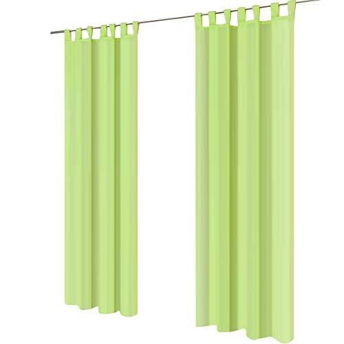 Lot de 2 gräfenstayn® venezia - rideau monochrome transparent en voile - nombreux coloris attrayants - dimensions (longueur x largeur) : 245x140cm chacun (vert pomme)