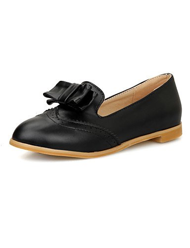 ZQ gyht Scarpe Donna-Mocassini-Tempo libero / Casual-Comoda / Punta arrotondata-Piatto-Finta pelle-Nero / Bianco , black-us6.5-7 / eu37 / uk4.5-5 / cn37 , black-us6.5-7 / eu37 / uk4.5-5 / cn37 white-us8 / eu39 / uk6 / cn39