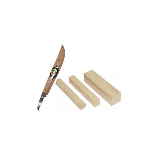 Kirschen Schnitz-Messer und Corvus Schnitz-Holz 4-teiliges Schnitz-Set