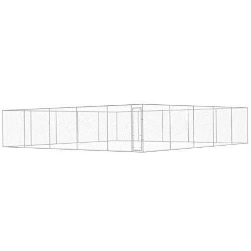 WT Trade Premium XXL Outdoor-Hundezwinger für Draußen mit Tür | 10x10 m | Hundehütte Hundekäfig Hundehaus Hütte | außen Auslauf