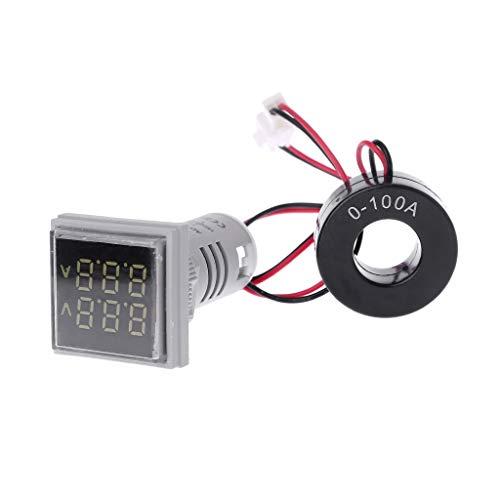 Meatyhjk Quadratisches LED-Digitales Dual-Display Voltmeter & Amperemeter Spannungsmessgerät AC 60-500 V 0-100 A weiß Ac Voltmeter