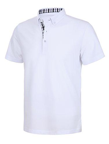 Schonlos Herren Poloshirt Kurzarm Einfarbig Sommer T-Shirt Men's Polo Shirt Weiß