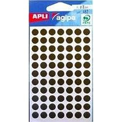 APLI-AGIPA 111837 Pastille Adhésive 8mm Pochette Lot de 462, Noir
