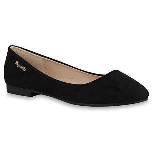 Klassische Damen Schuhe Strass Ballerinas Elegante Slipper Übergrößen  Metallic Glitzer Flats Schwarz Schwarz Velours 16bf8e92d7