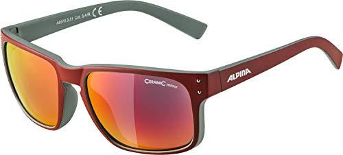 Alpina Unisex- Erwachsene KOSMIC Sonnenbrille, rot, grün, One Size