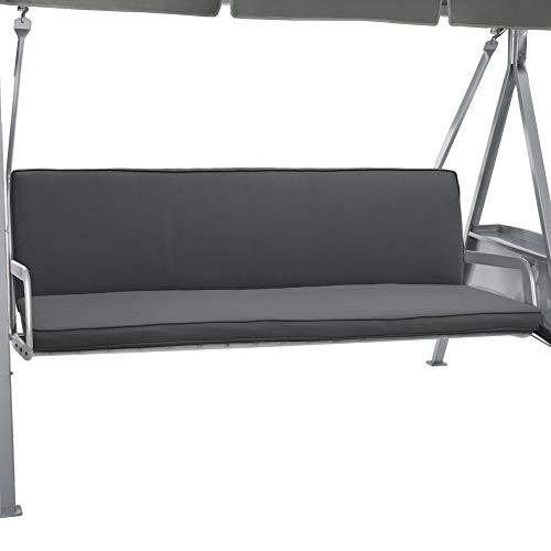 Beautissu Hollywoodschaukel Auflage Loft HS 180x50cm Auflagen für 3-Sitzer Hollywoodschaukel mit Rücken-Kissen Graphitgrau in verschiedenen Farben erhältlich