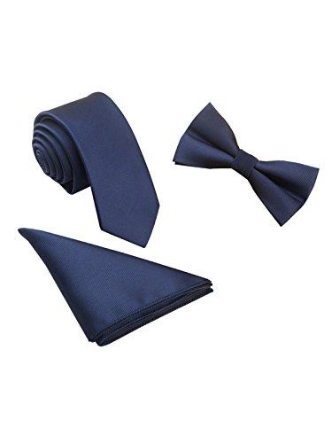 WANYING Herren Classic 6*12cm Fliege & 6cm Schmale Krawatte & 22*22 cm Einstecktuch 3 in 1 Sets - Einfarbig Dunkelblau