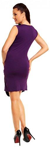 Zeta Ville - Robe élégante en jersey - Sans manches - Devant plissé - Femme 045z Pourpre