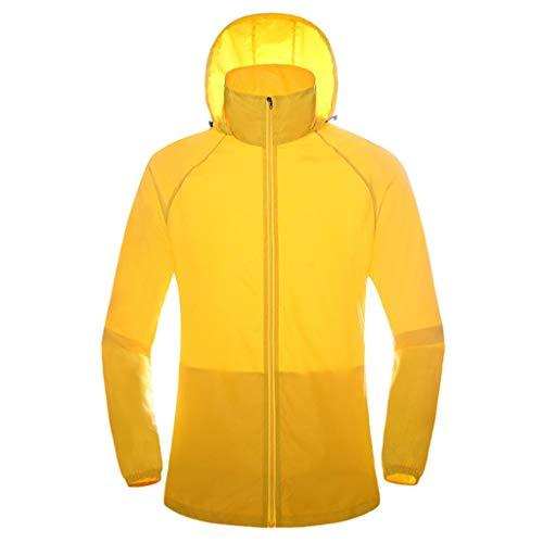 WERVOT Sonnenschutzbekleidung für Unisex Outdoor-Bekleidung Sporthaut Windjacke Schnell trocknende Bekleidung Reitanzüge Sonnenschutzbekleidung(Gelb,M) -