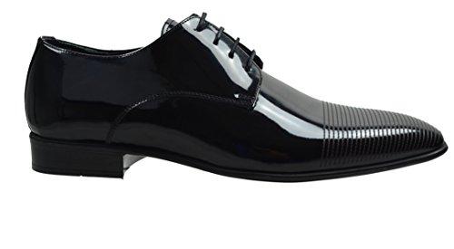 Scarpe Da Uomo In Pelle Di Capriolo Con Lacci Da Uomo, Lacca Nera Di Qualità Premium 0001135