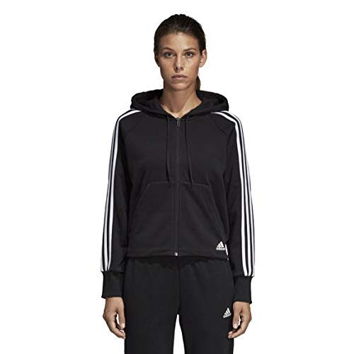 adidas Womens Must Haves 3 Stripes Full Zip Hoodie Felpa con Cappuccio Donna Nero S 40 42