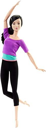 Barbie Bambola Snodata, 22 Punti Snodabili per Tanti Movimenti, Top Viola/Azzuro, DHL84