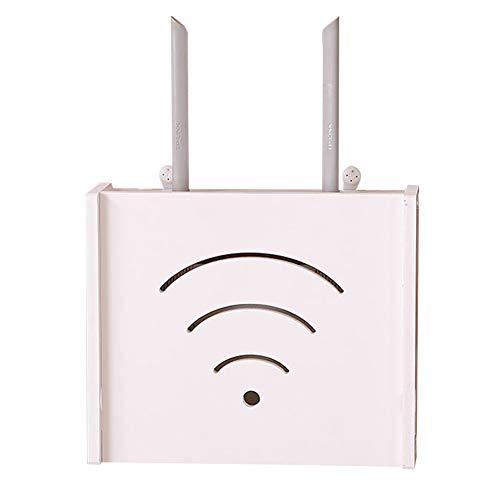 Yililay Wand WiFi Router-Aufbewahrungsbehälter aus Holz Draht Sucket Regal Multi Hanging Organizer Weiß -