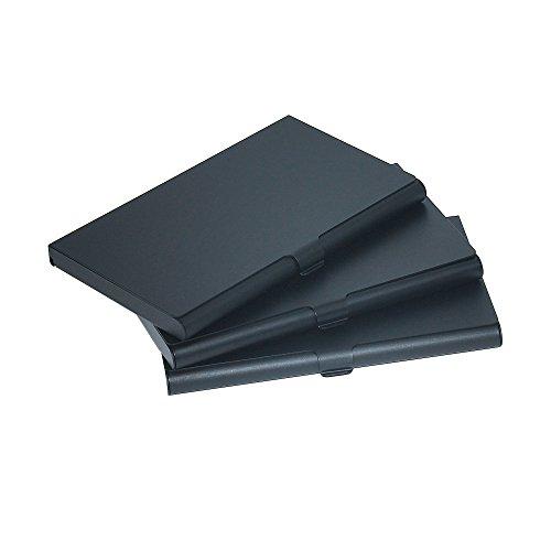 homedge Super Light Aluminium Visitenkartenhalter, Slim Professional 3Packungen Card Case für Reisen und Business-Schwarz
