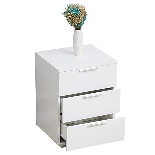 CLIPOP Cómoda de 3 cajones Gabinete de Almacenamiento de Archivo Blanco Mesilla de Noche para Oficina en casa (46 x42 x60cm)