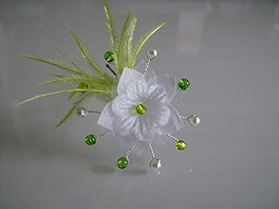 Fleur cheveux Blanc Ivoire Vert Anis Pomme Femme fille enfant Pics Bijou/Epingle/Pince/Chignon/Accessoire Plumes p robe Mariée/Mariage/Soirée (pas cher, petit prix)