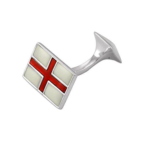 Boutons de Manchette Drapeau Anglais Saint George en Argent 925/1000 et Email - Fermeture Fixe