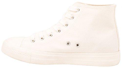 Elara Unisex Sneaker | Sportschuhe für Herren Damen | High Top Turnschuh Textil Schuhe White Standard