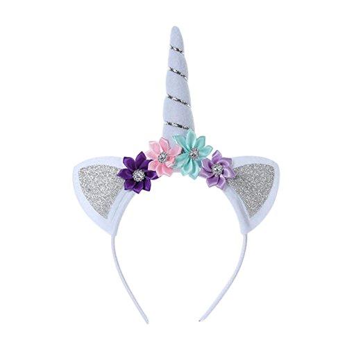 Oyfel-Diadema Diadema Cabello Unicornio Orejas Flor Decorativo Cuerno Lentejuelas Hoop Hairband para Niños Bebé Niñas Mujeres Fiesta Accesorios de cumpleaños de los Juegos de rol 1pcs