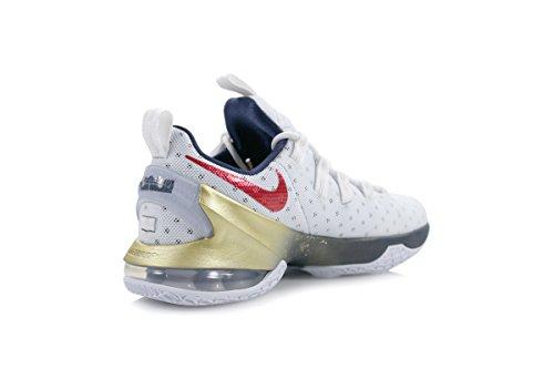 Nike  Lebron Xiii Low, espadrilles de basket-ball homme Blanco (White / University Red-Obsidian)