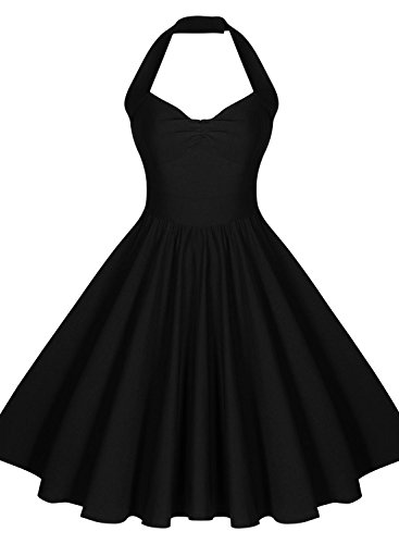 Miusol Neckholder Rockabilly Cocktailkleid 1950er Party Kleid Schwarz - 4