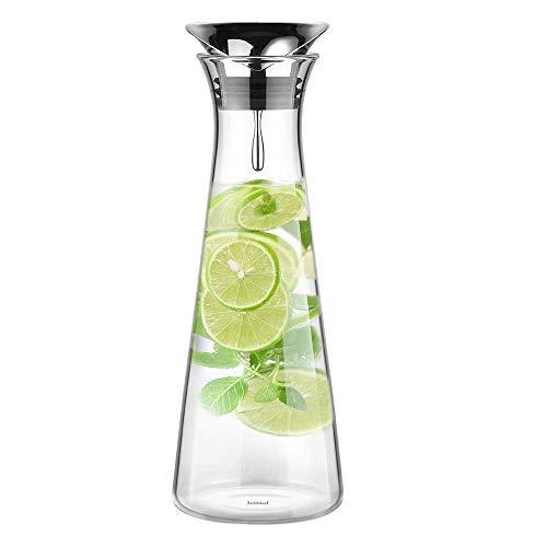 Glastal 1L Glaskaraffe Glaskrug aus Borosilikatglas Wasserkrug mit Edelstahl Deckel Karaffe Glaskanne 11 * 30cm