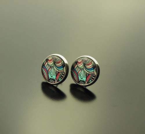 Ohrringe Retro Muster Mandala Streifen farbig bunt Regenbogen Glas Ohrstecker Stecker Cabochon Juvelato