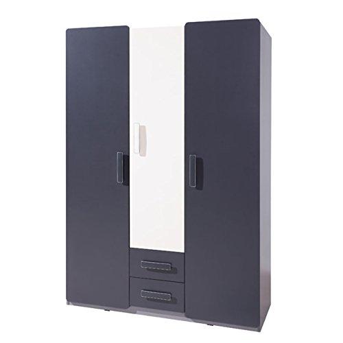 Kleiderschrank Lido SZ3D2SZ, Drehtürenschrank mit 2 Schubladen und Kleiderstange, Garderoben, Kleiderschrank, Modernes Schrank für Jugendzimmer...