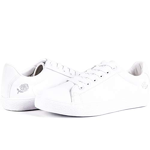 adab8cdf077fc Hotroad Womens Fashion Sneakers White Sneaker for Women Casual Clearance  Low Top Ladies Walking Tennis Shoes, Embroidered Rose / 5 UK Women