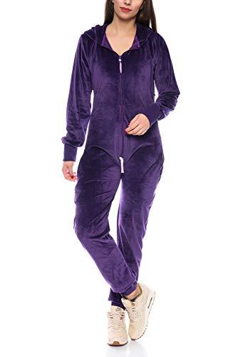 Crazy Age Damen Jumpsuit aus Samt (Nicki, Velvet) Wohlfühlen mit Style. Elegant, Kuschelig, Weich. Overall, Ganzkörperanzug, Jogging - Freizeit Anzug, Onesie (Lila, L)