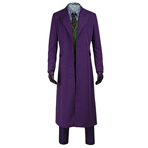 ht Joker Kostüm Set mit Zubehör Krawatte Handschuhe Overcoat Anzug Halloween Herren Joker Kostüm - - Large ()
