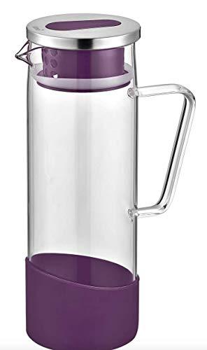 neva Wasserkaraffe mit Edelstahl 1,3L Glaskaraffe mit Silikon lila | Karaffe