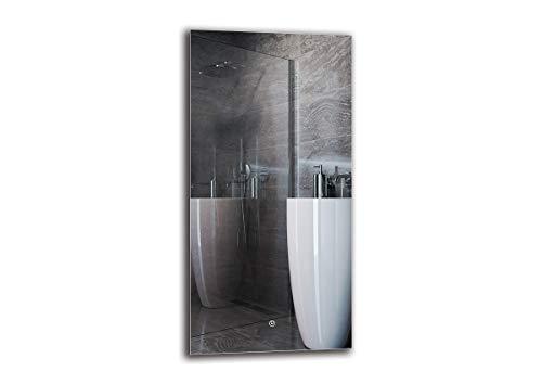 Espejo LED Deluxe - Dimensiones del Espejo 50x100 cm - Interruptor tactil - Espejo de baño con iluminación...