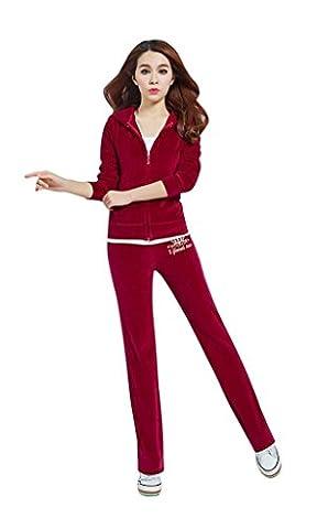 2 Piece Ladies Womens Velour Sweatsuit Set, Plush Sweatsuits for