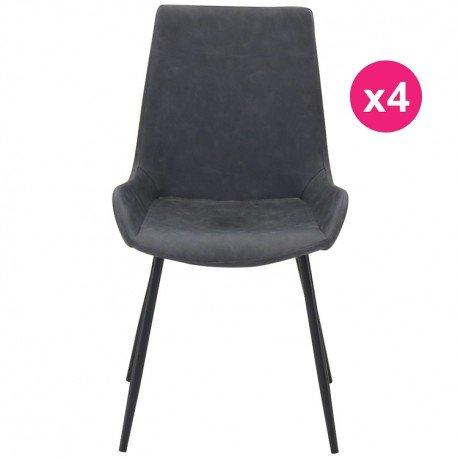 Lot de 4 Chaises Noir Vieilli KosyForm