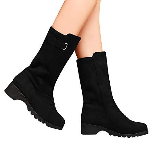 TianWlio Stiefel Frauen Herbst Winter Schuhe Stiefeletten Boots Art und Weise Retro Feste Warme Flock Ebene mit Knöchel Schnee Lädt Runde Zehen Schuhe auf Schwarz 39