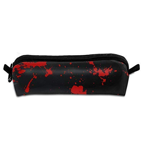 Blood Splatter Black Pen Pencil Stationery Bag Makeup Case Travel Cosmetic Brush Accessories