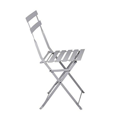3-tlg. Balkonset in Weiß Pulverbeschichteter Rahmen Tisch 60 cm x 71 cm 2 x Stuhl 42cm x46cm x 81cm