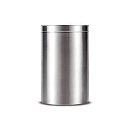 AUGAUST 304 Portable en Acier Inoxydable de thé scellé étanche à l'humidité Petit Portable adapté pour Stocker Le thé de Bonbons aux Fruits secs (Couleur : Silver, Taille : 280ML)