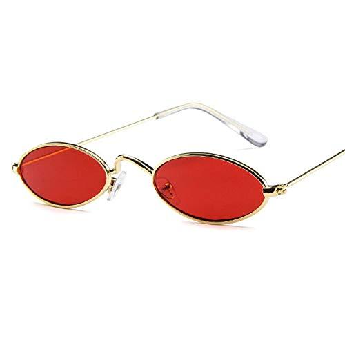 YUHANGH Vintage Kleine Ovale Sonnenbrille Mode Frauen Männer Metallrahmen Klar Rosa Lens Shades Sonnenbrille Eyewear Sunglass - Versace Red Lens