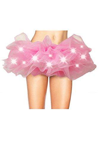 Frauen Mit Mini - Rock Mit Led - Leuchten Tutu Schichten Tüll - Kostüm - Party Tanzen Pink S