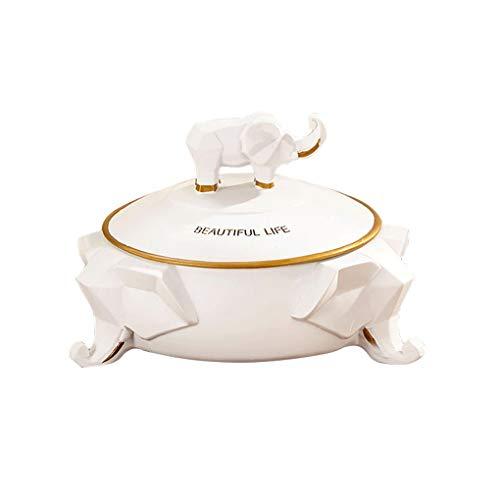 Aschenbecher Einfache Lucky Elephant Aschenbecher Kreative Persönlichkeit Trend Home Mit Deckel Aschenbecher Büro Wohnzimmer Couchtisch Dekoration (Color : White, Size : F)