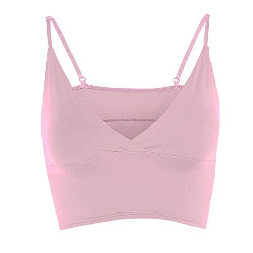 iYmitz Sommer Tanktops Damen Mädchen Tops Weste BH Ärmellos V-Ausschnitt Wrap Over Crop Top Heißer Bluse Solide Sports Yoga Camisole(Rosa,EU-44/CN-2XL)
