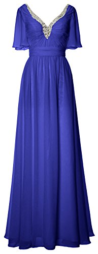 MACloth Women V Neck Chiffon Long Mother of the Bride Dress Evening Formal Gown Royal Blue