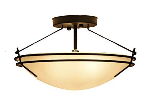 HXSON Klassische Retro Deckenleuchte Runde Glasschirm Led Energiesparlampe Eisen Farbe Prozess Geeignet Für 8-15m2 Schlafzimmer Restaurant Arbeitszimmer -